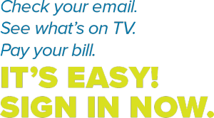 Check your email. See what's on TV. Pay our bill. It's easy! Sign in now.